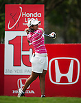 CHON BURI, THAILAND - FEBRUARY 16:  Julieta Granada of Paraguay tees off on the 14th green during day one of the LPGA Thailand at Siam Country Club on February 16, 2012 in Chon Buri, Thailand.  Photo by Victor Fraile / The Power of Sport Images