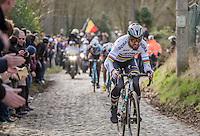 World Champion Peter Sagan (SVK/Bora-Hansgrohe) up the Molenberg<br /> <br /> 72nd Omloop Het Nieuwsblad 2017