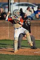 Glenn Bobcats catcher Drew Tiano (1) throws the ball back to his pitcher during the game against the Mallard Creek Mavericks at Dale Ijames Stadium on March 22, 2017 in Kernersville, North Carolina.  The Bobcats defeated the Mavericks 12-2 in 5 innings.  (Brian Westerholt/Four Seam Images)