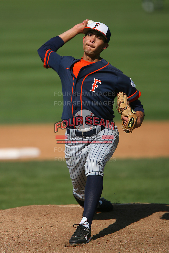 March 28 2009: Noe Ramirez of the CS Fullerton Titans during game against the UC Riverside Highlanders at Riverside Sports Complex in Riverside,CA.  Photo by Larry Goren/Four Seam Images