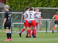 Geena Lisa Buyle (13) of Zulte-Warege, Ulrike De Frere (7) of Zulte-Waregem  and Amber De Priester (6) of Zulte-Waregem(R) congratulate Ella Vierendeels (4) of Zulte-Waregem for her goal from penalty  during a female soccer game between SV Zulte - Waregem and Eendracht Aalst on the 9 th matchday in play off 2 of the 2020 - 2021 season of Belgian Scooore Womens Super League , saturday 22 nd of May 2021  in Zulte , Belgium . PHOTO SPORTPIX.BE | SPP | DIRK VUYLSTEKE