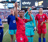 PHILADELPHIA, PA - AUGUST 29: Crystal Dunn #19 of the United States dances in the huddle prior to a game between Portugal and the USWNT at Lincoln Financial Field on August 29, 2019 in Philadelphia, PA.