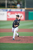 Kyle Tyler (20) of the Salt Lake Bees throws home during the game against the Reno Aces at Smith's Ballpark on August 24, 2021 in Salt Lake City, Utah. The Aces defeated the Bees 6-5. (Stephen Smith/Four Seam Images)