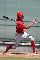 Philadelphia Phillies infielder Jan Hernandez (18) during a minor league spring training game against the Pittsburgh Pirates on March 18, 2014 at the Carpenter Complex in Clearwater, Florida.  (Mike Janes/Four Seam Images)