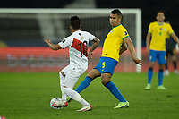 5th July 2021; Nilton Santos Stadium, Rio de Janeiro, Brazil; Copa America, Brazil versus Peru; Casemiro of Brazil challenged by Christian Cueva of Peru