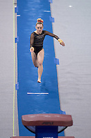 LOS ANGELES, CA - April 19, 2013:  Stanford's Taylor Rice competes on vault during the NCAA Championships at UCLA.