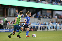 SAN JOSE, CA - MAY 12: Tommy Thompson #22 of the San Jose Earthquakes during a game between Seattle Sounders FC and San Jose Earthquakes at PayPal Park on May 12, 2021 in San Jose, California.
