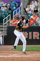 Aberdeen IronBirds Kyle Stowers (44) at bat during a NY-Penn League game against the Vermont Lake Monsters on August 18, 2019 at Leidos Field at Ripken Stadium in Aberdeen, Maryland.  Vermont defeated Aberdeen 6-5.  (Mike Janes/Four Seam Images)