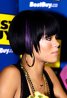 """Toronto (ON), June 14, 2007  - Rihanna, an artist with musical influences from R&B, pop and reggae, signing copies of her just released CD Good Girl Gone Bad, which includes the smash single """"Umbrella"""" featuring Jay-Z, at Toronto's Best Buy store at Eaton Centre."""