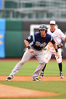 Corpus Christi Hooks third baseman Matt Duffy (13) leads off second during a game against the NW Arkansas Naturals on May 26, 2014 at Arvest Ballpark in Springdale, Arkansas.  NW Arkansas defeated Corpus Christi 5-3.  (Mike Janes/Four Seam Images)