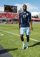 August 18, 2012: Sporting KC forward C.J. Sapong #17 in action during the warm-up in an MLS game between Toronto FC and Sporting Kansas City at BMO Field in Toronto, Ontario Canada..Sporting Kansas City won 1-0.