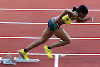 22 AUG 2013 - STOCKHOLM, SWE - Shana Cox of Great Britain powers from the blocks at the start of the women's 400m during the DN Galen meet of the 2013 Diamond League at the Stockholm Olympic Stadium in Stockholm, Sweden (PHOTO COPYRIGHT © 2013 NIGEL FARROW, ALL RIGHTS RESERVED)