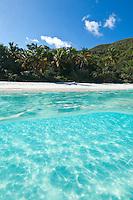 Split level image of Trunk Bay<br /> Virgin Islands National Park<br /> St. John<br /> U.S. Virgin Islands