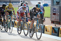 In a 2nd group that entered the legendary velodrome, Sir Bradley Wiggins (GBR/Sky) crosses the finish line for a first time and drags Alexander Kristoff (NOR/Katusha) & Sep Vanmarcke (BEL/LottoNL-Jumbo) in his wheel<br /> <br /> 113th Paris-Roubaix 2015