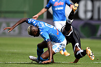 Victor Osimhen of SSC Napoli and Bruno Alves of Parma Calcio 1913 during the Serie A football match between Parma Calcio 1913 and SSC Napoli at Ennio Tardini stadium in Parma (Italy), September 20th, 2020. Photo Andrea Staccioli / Insidefoto