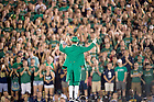 Sept. 5, 2015; The Leprechaun leads the student section in a cheer. (Photo by Matt Cashore)