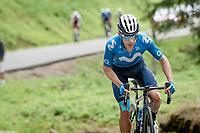 """Miguel """"Superman"""" López (COL/Movistar) attacking the bunch up the Col de Joux Plane (HC/1691m/11.6 km@8.5 %)<br /> <br /> 73rd Critérium du Dauphiné 2021 (2.UWT)<br /> Stage 8 (Final) from La Léchère-Les-Bains to Les Gets (147km)<br /> <br /> ©kramon"""