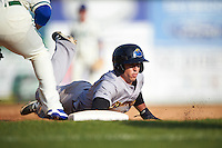 Trenton Thunder center fielder Dustin Fowler (10) dives back to first during the first game of a doubleheader against the Hartford Yard Goats on June 1, 2016 at Sen. Thomas J. Dodd Memorial Stadium in Norwich, Connecticut.  Trenton defeated Hartford 4-2.  (Mike Janes/Four Seam Images)