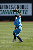 Old Dominion Monarchs second baseman Carter Trice (4) has trouble with a pop fly during the game against the Charlotte 49ers at Hayes Stadium on April 25, 2021 in Charlotte, North Carolina. (Brian Westerholt/Four Seam Images)