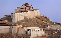 The Dzong Fortress at dawn. Gyantse, Tibet.