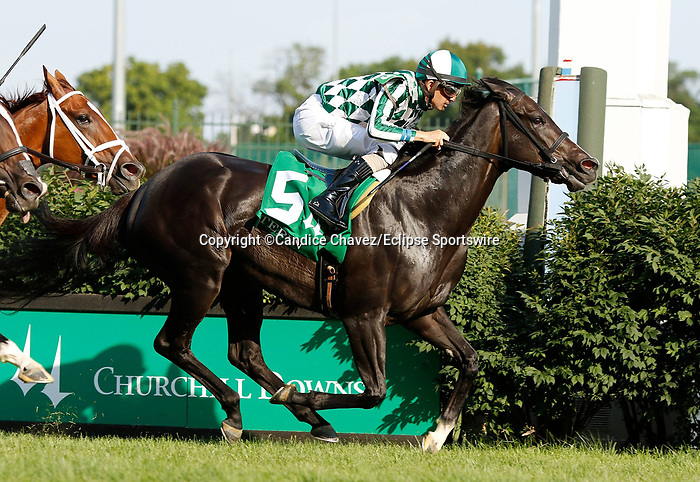 June 26, 2021: Navratilova, #5, ridden by jockey Brian J. Hernandez Jr., wins the Tepin Stakes on the turf at Churchill Downs on June 26, 2021 in Louisville, Kentucky. Candice Chavez/Eclipse Sportswire/CSM