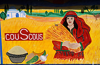 Afrique/Afrique du Nord/Tunisie/Nabeul : Enseigne d'un marchand de farine de couscous