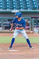 AZL Rangers second baseman Jayce Easley (71) shows bunt during an Arizona League playoff game against the AZL Indians 1 at Goodyear Ballpark on August 28, 2018 in Goodyear, Arizona. The AZL Rangers defeated the AZL Indians 1 7-4. (Zachary Lucy/Four Seam Images)
