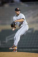 Delmarva Shorebirds relief pitcher Jay Flaa (31) in action against the Kannapolis Intimidators at Kannapolis Intimidators Stadium on April 11, 2016 in Kannapolis, North Carolina.  (Brian Westerholt/Four Seam Images)