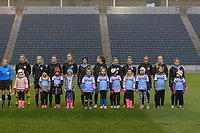 Bridgeview, IL - Wednesday April 18, 2018: Chicago Red Stars Starting XI, player escorts during a regular season National Women's Soccer League (NWSL) match between the Chicago Red Stars and the Houston Dash at Toyota Park.