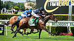 July 10, 2021: Santa Barbara (IRE), ridden by Ryan Moore, wins the 2021 running of the G1 Belmont Oaks at Belmont Park in Elmont, NY. Sophie Shore/ESW/CSM