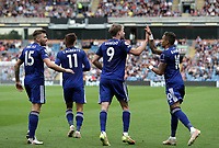 29th August 2021; Turf Moor, Burnley, Lancashire, England; Premier League football, Burnley versus Leeds United: Patrick Bamford of Leeds United celebrates with his team mates after his 85th minute equalising goal