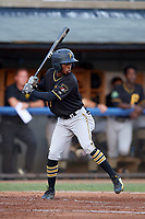 Bristol Pirates shortstop Victor Ngoepe (5) at bat during a game against the Bluefield Blue Jays on July 26, 2018 at Bowen Field in Bluefield, Virginia.  Bristol defeated Bluefield 7-6.  (Mike Janes/Four Seam Images)