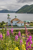 Russian Orthodox Cathedral of the Holy Ascension of Christ, in the town of UnAlaska, UnAlaska Island, Dutch Harbor, Aleutian Islands, Alaska.