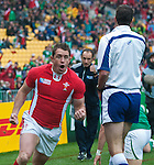 Shane Williams celebrates following his early try in Wales World Cup quarter final against Ireland in Wellington.