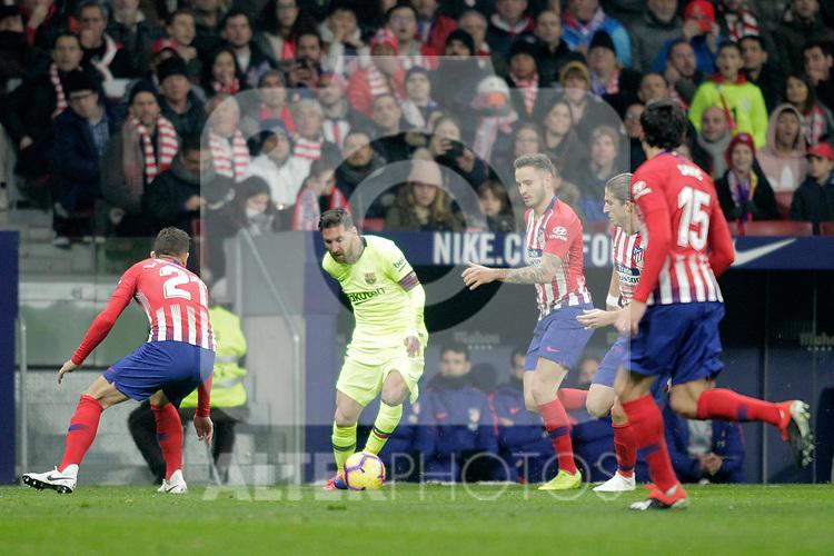 (L - R) Club Atletico de Madrid's Lucas Hernandez, Saul Niguez, Filipe Luis, Stefan Savic  and Futbol Club Barcelona's Leo Messi during La Liga match. November 24,2018. (ALTERPHOTOS/Alconada)