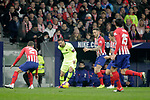 (L - R) Club Atletico de Madrid's Lucas Hernandez, Saul Niguez, Filipe Luis, Stefan Savic  and Futbol Club Barcelona's Leo Messi during La Liga match. November 24,2018. (ALTERPHOTOS/Alconada)
