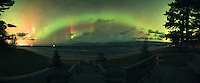 Aurora Borealis Northern Lights over Lake Superior in the Upper Peninsula of Michigan Marquette aurora borealis northern lights in the upper peninsula of michigan Northern Lights aurora borealis panorama, panoramic Upper Peninsula of Michigan