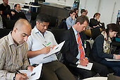 Judging panel, Springboard event at Level39, Canary Wharf.  Tech start-ups rehearse pitching to potential investors.