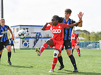 Fon Welma (2) of Standard  pictured in a duel with Isabelle Iliano (18) of Club Brugge during a female soccer game between Club Brugge Dames YLA and Standard Femine de Liege on the seventh matchday in Play-Off 1 of the 2020 - 2021 season of Belgian Scooore Womens Super League , saturday 15 May 2021  in Brugge , Belgium . PHOTO SPORTPIX.BE   SPP   DAVID CATRY