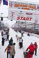 2012 Junior Iditarod winner, Conway Seavey. leaves the start line at Ceremonial Start of Iditarod 2012 in Anchorage, Alaska.