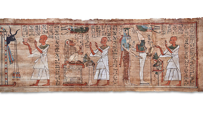 Ancient Egyptian Book of the Dead papyrus  - Aaner Book of the Dead, Thebes - 21st Dynasty (1076-943C).Turin Egyptian Museum. white background<br /> <br /> During the 21st Dynasty the number of spells in Books of the Dead was often reduced in favour of decrative panels. small illustrated vignettes take up a large part of the papytus surface