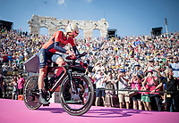 Vincenzo Nibali (ITA/Bahrain-Merida) entering the Verona amphitheater after finishing the closing iTT<br /> <br /> Stage 21 (ITT): Verona to Verona (17km)<br /> 102nd Giro d'Italia 2019<br /> <br /> ©kramon