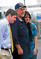 17 April 2009: Captain Richard Phillips is hugged by his kids after completing an 18-hour journey home from Mombasa, Kenya, arriving at the Burlington International Airport, in Burlington, Vermont, USA 17 April 2009. Captain Phillips was held hostage for five days by Somali pirates in an attempted hijacking of the Maersk cargo ship Alabama. United States Navy Seal sharpshooters on the USS Bainbridge killed three pirates to free Captain Phillips in his dramatic rescue.