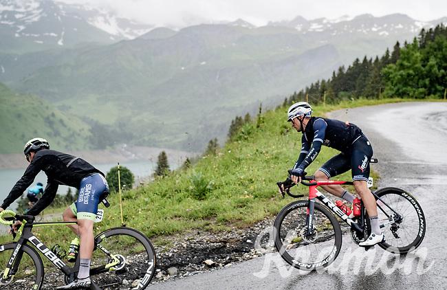 Edward Theuns (BEL/Trek-Segafredo) descending the Col du Pré (HC/1748m) towards the Barrage de Roselend in, yet again, grim conditions.<br /> <br /> Stage 9 from Cluses to Tignes (145km)<br /> 108th Tour de France 2021 (2.UWT)<br /> <br /> ©kramon