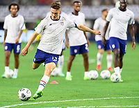 DALLAS, TX - JULY 25: Matthew Hoppe #13 of the United States warming up before a game between Jamaica and USMNT at AT&T Stadium on July 25, 2021 in Dallas, Texas.