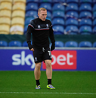 Lincoln City's Anthony Scully during the pre-match warm-up<br /> <br /> Photographer Andrew Vaughan/CameraSport<br /> <br /> EFL Trophy Northern Section Group E - Mansfield Town v Lincoln City - Tuesday 6th October 2020 - Field Mill - Mansfield  <br />  <br /> World Copyright © 2020 CameraSport. All rights reserved. 43 Linden Ave. Countesthorpe. Leicester. England. LE8 5PG - Tel: +44 (0) 116 277 4147 - admin@camerasport.com - www.camerasport.com