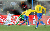 Luis Fabiano of Brazil scores his side's first goal. Brazil defeated USA 3-2 in the FIFA Confederations Cup Final at Ellis Park Stadium in Johannesburg, South Africa on June 28, 2009.