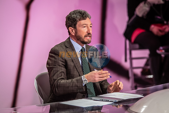 Andrea De Luca at the presentation of the 2021 Giro d'Italia Route in the Rai Studios in Corso Sempione, Milan, Italy. 23rd February 2021.  <br /> Picture: LaPresse/Claudio Furlan   Cyclefile<br /> <br /> All photos usage must carry mandatory copyright credit (© Cyclefile   LaPresse/Claudio Furlan)