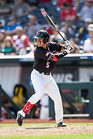 Texas Tech Red Raiders second baseman Brian Klein (5) at bat during Game 1 of the NCAA College World Series against the Michigan Wolverines on June 15, 2019 at TD Ameritrade Park in Omaha, Nebraska. Michigan defeated Texas Tech 5-3. (Andrew Woolley/Four Seam Images)