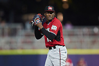 Carolina Mudcats relief pitcher Abner Uribe (15) looks to his catcher for the sign against the Kannapolis Cannon Ballers at Atrium Health Ballpark on June 9, 2021 in Kannapolis, North Carolina. (Brian Westerholt/Four Seam Images)